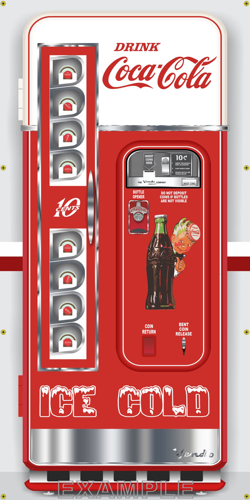 VINTAGE COKE COCA-COLA VENDING MACHINES MURAL Printed Banner VARIATIONS