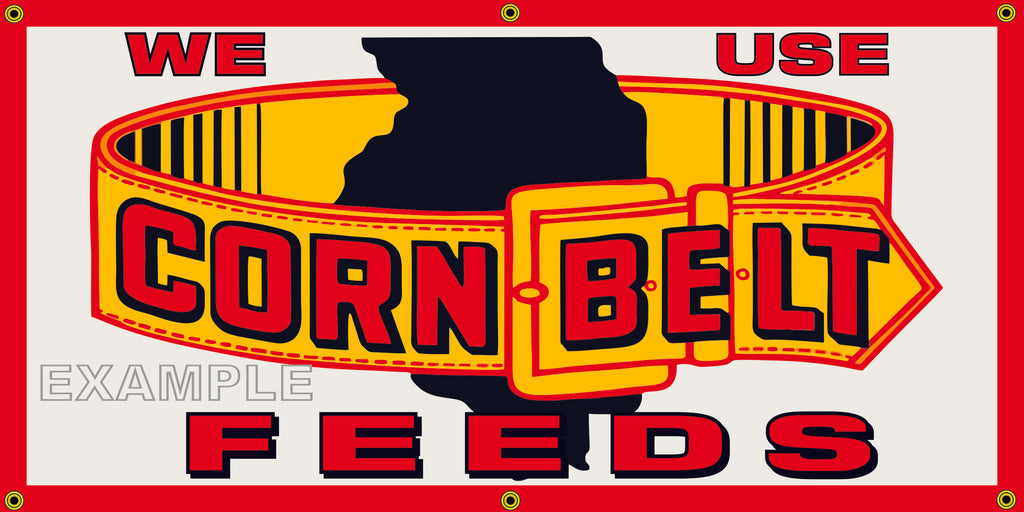CORN BELT FEEDS FARM SUPPLY VINTAGE OLD SCHOOL SIGN REMAKE BANNER SIGN ART MURAL 2' X 4'/3' X 6'