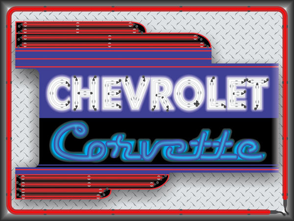 CHEVROLET CORVETTE CAR SALES DEALER OLD REMAKE MARQUEE Neon Effect Sign Printed Banner 4' x 3'