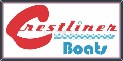 CRESTLINER BOATS AUTHORIZED DEALER MARINE WATERCRAFT OLD SIGN REMAKE ALUMINUM CLAD SIGN VARIOUS SIZES
