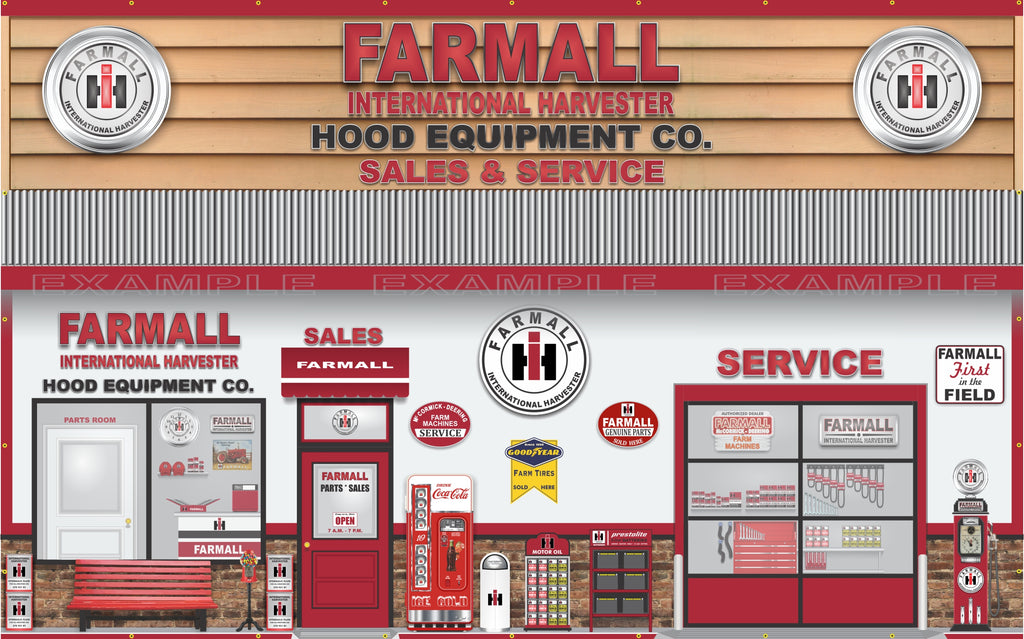 FARMALL TRACTOR IH INTERNATIONAL HARVESTER SALES PARTS SERVICE DEALERSHIP RETRO SCENE WALL MURAL SIGN BANNER GARAGE ART CUSTOM 10 X 16