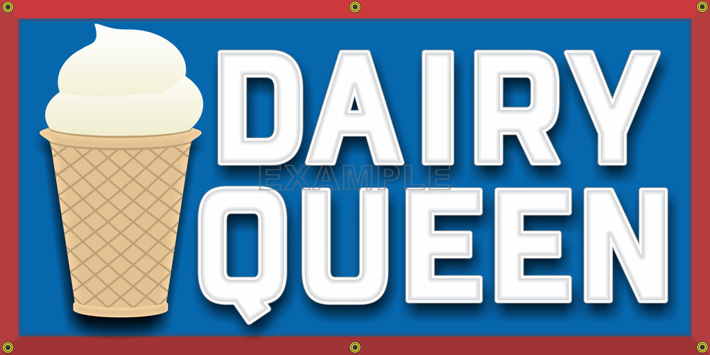 DAIRY QUEEN HAMBURGER RESTAURANT DRIVE IN VINTAGE STYLE OLD SCHOOL SIGN REMAKE BANNER SIGN ART MURAL 2' X 4'/3' X 6'