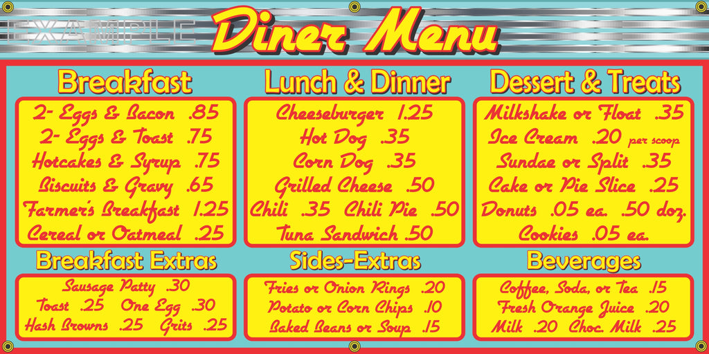1950s MENU BOARD DINER RESTAURANT VINTAGE OLD SCHOOL SIGN REMAKE BANNER ART MURAL 2
