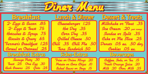 1950's MENU BOARD DINER RESTAURANT VINTAGE OLD SCHOOL SIGN REMAKE BANNER SIGN ART MURAL 2' X 4'/3' X 6'