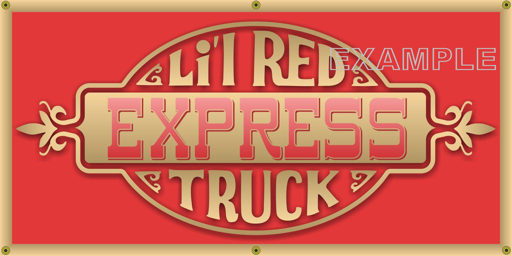 DODGE LIL RED EXPRESS TRUCK DOOR GRAPHIC VINTAGE OLD SCHOOL SIGN REMAKE BANNER SIGN ART MURAL 2' X 4'/3' X 6'