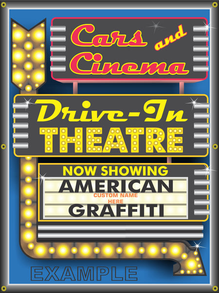 CARS AND CINEMA MOVIE THEATER DRIVE-IN CAR MOVIE TITLES BANNER SIGN ART MURAL 3' X 4'