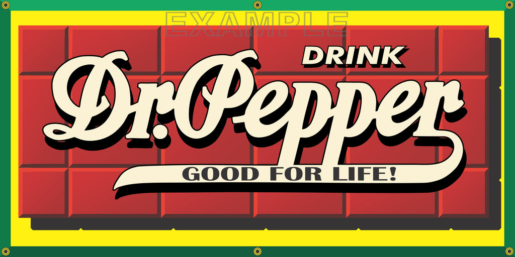 DR PEPPER SODA POP VINTAGE OLD SCHOOL SIGN REMAKE BANNER SIGN ART MURAL 2' X 4'/3' X 6'