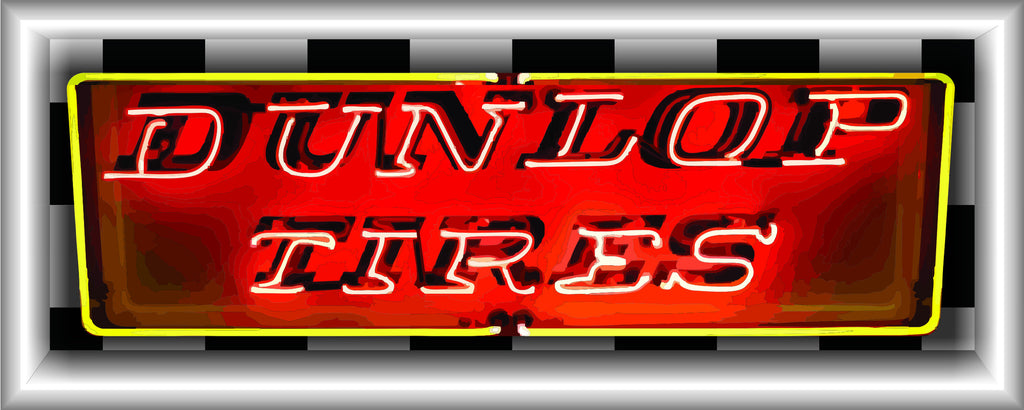 DUNLOP TIRES Neon Effect Sign Printed Banner HORIZONTAL 5' x 2'