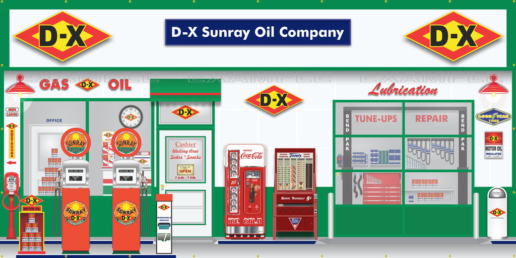 DX SUNRAY OLD GAS PUMP GAS STATION SCENE WALL MURAL SIGN BANNER GARAGE ART VARIOUS SIZES