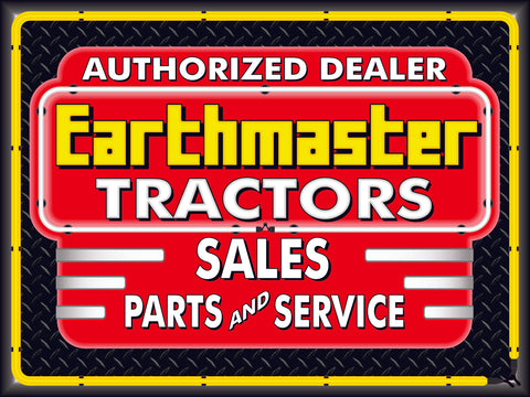 EARTHMASTER TRACTORS DEALER STYLE SIGN SALES SERVICE PARTS TRACTOR REPAIR SHOP REMAKE BANNER 3' X 4'
