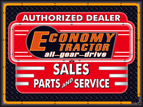 ECONOMY TRACTORS DEALER STYLE SIGN SALES SERVICE PARTS TRACTOR REPAIR SHOP REMAKE BANNER 3' X 4'