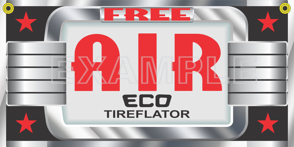"ECO TIREFLATOR AIR STATION METER TIRE INFLATOR GAS STATION PRINTED BANNER ART MURAL 20"" x 60"""