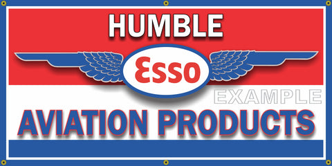 ESSO AVIATION PRODUCTS HUMBLE OIL AIRCRAFT AIRPLANES GAS STATION VINTAGE OLD SCHOOL SIGN REMAKE BANNER SIGN ART MURAL 2' X 4'/3' X 6'