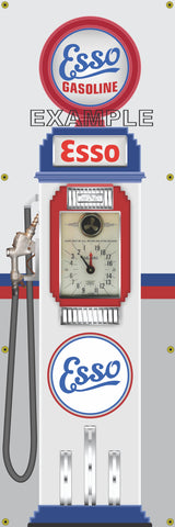 ESSO GASOLINE CLOCK FACE GAS PUMP Sign Printed Banner VERTICAL 2' x 6'