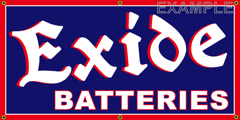 EXIDE BATTERIES AUTOMOTIVE REPAIR SERVICE VINTAGE OLD SCHOOL SIGN REMAKE BANNER SIGN ART MURAL 2' X 4'/3' X 6'