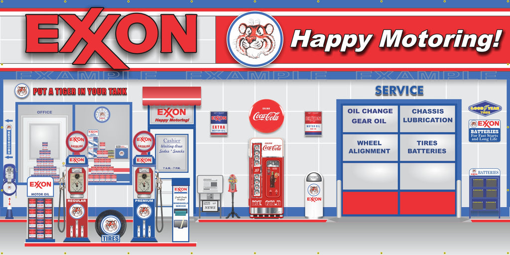 EXXON RETRO OLD GAS PUMP STATION SCENE WALL MURAL SIGN BANNER GARAGE ART VARIOUS SIZES