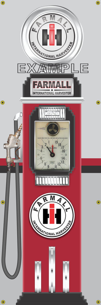 FARMALL INTERNATIONAL HARVESTER TRACTORS DIESEL GASOLINE OLD CLOCK FACE GAS PUMP Sign Printed Banner VERTICAL 2' x 6'