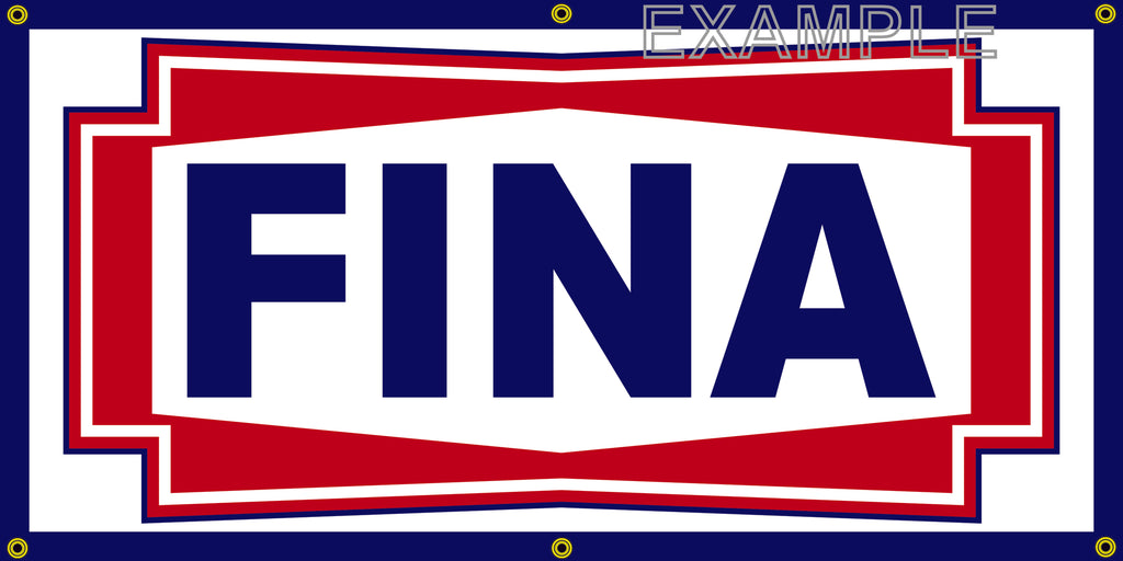 FINA GAS STATION VINTAGE OLD SCHOOL SIGN REMAKE BANNER SIGN ART MURAL 2' X 4'/3' X 6'