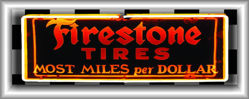 FIRESTONE TIRES Neon Effect Sign Printed Banner HORIZONTAL 5' x 2'