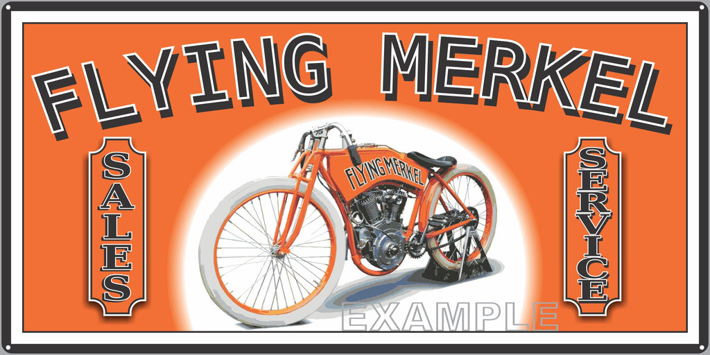 FLYING MERKEL VINTAGE MOTORCYCLE OLD SIGN REMAKE ALUMINUM CLAD SIGN VARIOUS SIZES
