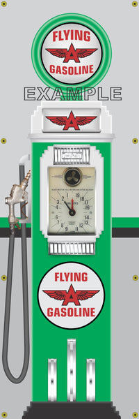 FLYING A CLOCK FACE GAS PUMP Sign Printed Banner VERTICAL 2' x 6'