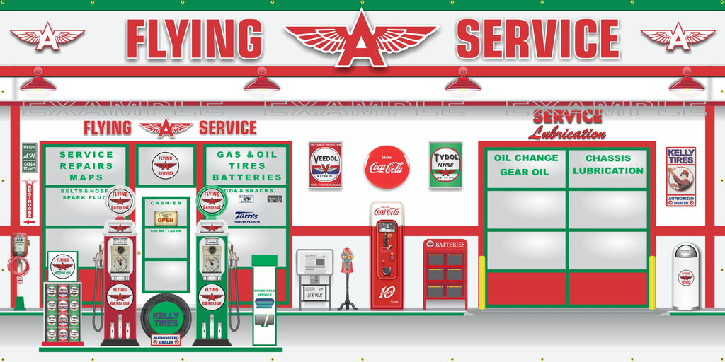FLYING A SERVICE OLD GAS PUMP GAS STATION SCENE WALL MURAL SIGN BANNER GARAGE ART VARIOUS SIZES