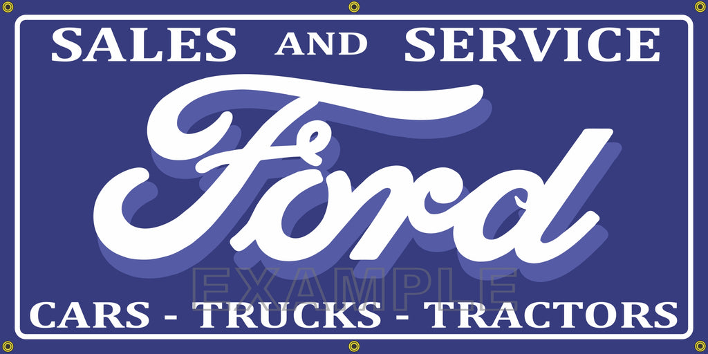 FORD CARS TRUCKS TRACTORS DEALER SALES VINTAGE OLD SCHOOL SIGN REMAKE BANNER SIGN ART MURAL 2' X 4'/3' X 6'