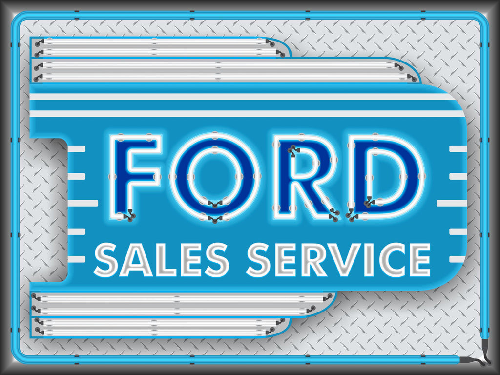 FORD CAR SALES SERVICE DEALER OLD REMAKE MARQUEE Neon Effect Sign Printed Banner 4' x 3'