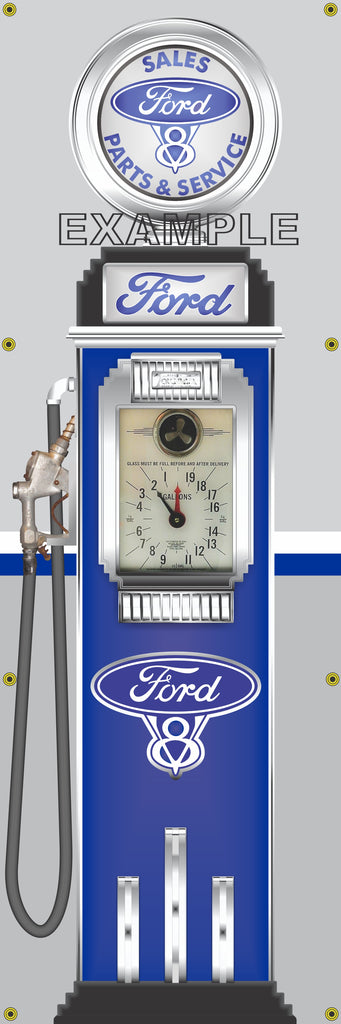 FORD V8 MOTOR CARS GASOLINE OLD CLOCK FACE GAS PUMP Sign Printed Banner VERTICAL 2' x 6'