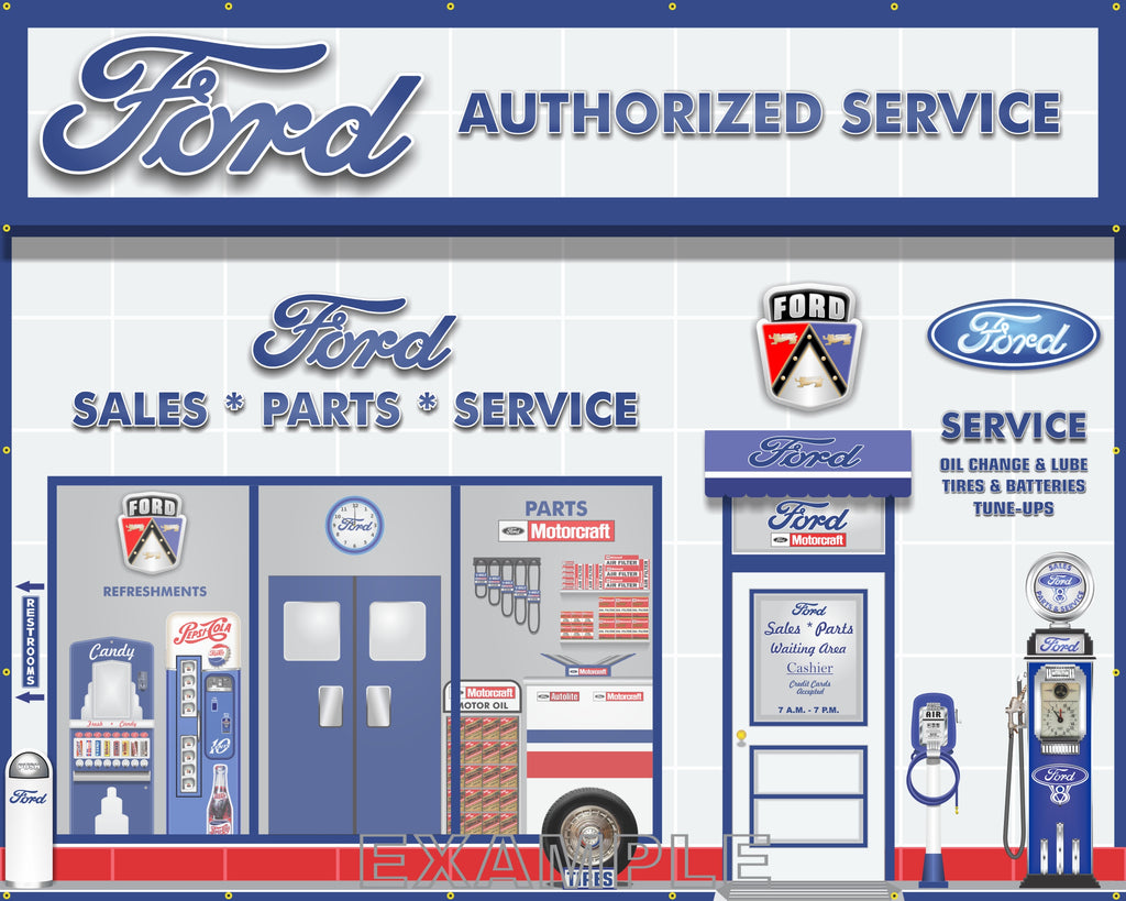 FORD MOTORCRAFT SALES PARTS SERVICE DEALERSHIP RETRO SCENE WALL MURAL SIGN BANNER GARAGE ART 8' X 10'