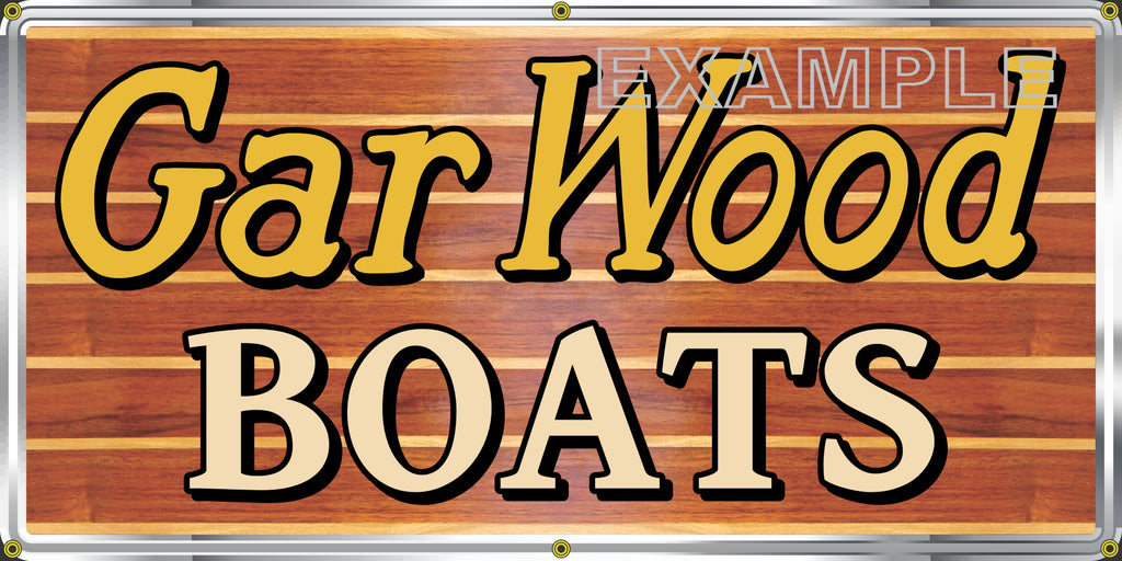 GAR WOOD BOATS VINTAGE OLD SCHOOL SIGN REMAKE BANNER SIGN ART MURAL 2' X 4'/3' X 6'