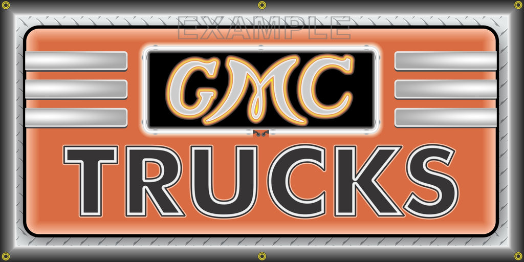GMC TRUCKS SALES DEALER VINTAGE OLD SCHOOL SIGN REMAKE BANNER SIGN ART MURAL 2' X 4'/3' X 6'