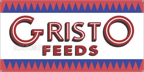 GRISTO FEEDS FARM FEED STORE OLD SIGN REMAKE ALUMINUM CLAD SIGN VARIOUS SIZES