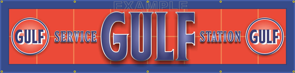 "GULF OIL GAS SERVICE STATION MAIN LETTER SIGN REMAKE BANNER ART MURAL 24"" x 96"""