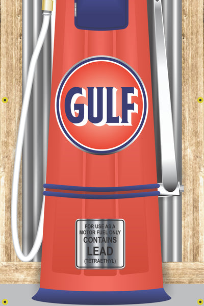 GULF GAS STATION OLD VISIBLE GAS PUMP RUSTIC PRINTED BANNER MURAL ART 2' x 8'