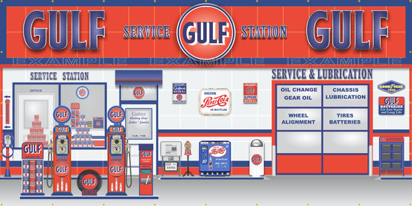 Gulf Retro Old Gas Pump Gas Station Scene Wall Mural Sign Banner Garag Revved Up Banners