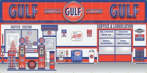 GULF RETRO OLD GAS PUMP GAS STATION SCENE WALL MURAL SIGN BANNER GARAGE ART VARIOUS SIZES