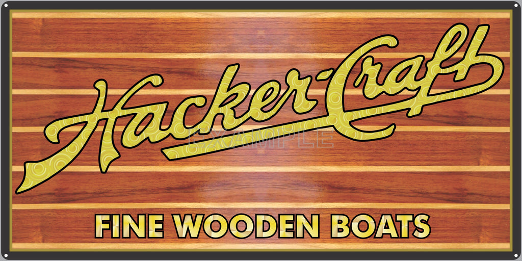 HACKER-CRAFT FINE WOODEN BOATS AUTHORIZED DEALER MARINE WATERCRAFT OLD SIGN REMAKE ALUMINUM CLAD SIGN VARIOUS SIZES
