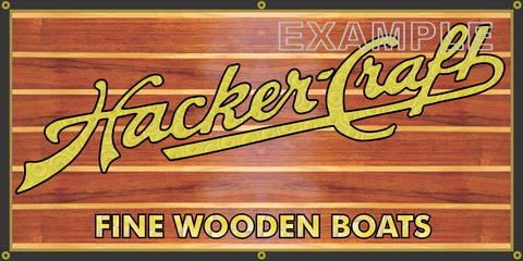 HACKER-CRAFT BOATS DEALER VINTAGE OLD SCHOOL SIGN REMAKE BANNER SIGN ART MURAL 2' X 4'/3' X 6'