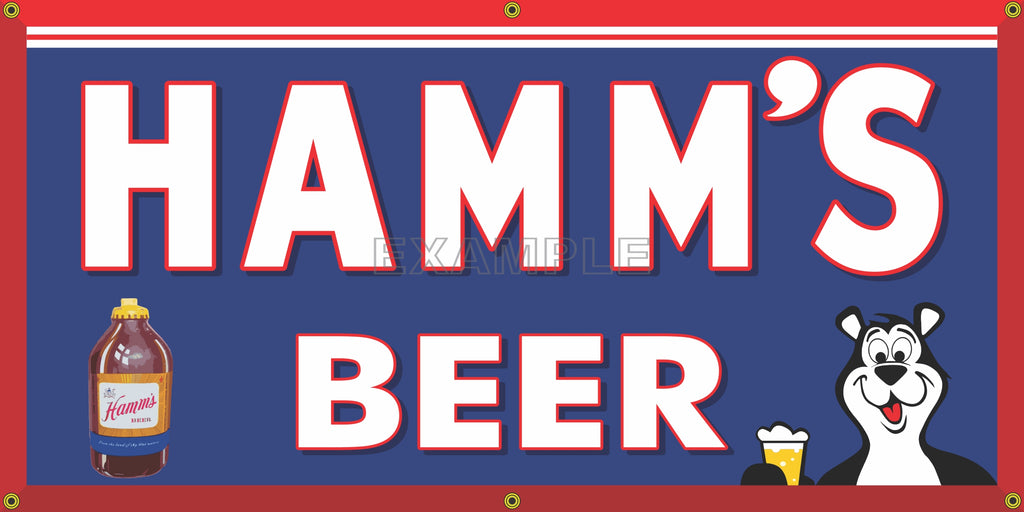 HAMM'S BEER OLD SCHOOL PUB BAR SIGN REMAKE BANNER SIGN ART MURAL 2' X 4'/3' X 6'