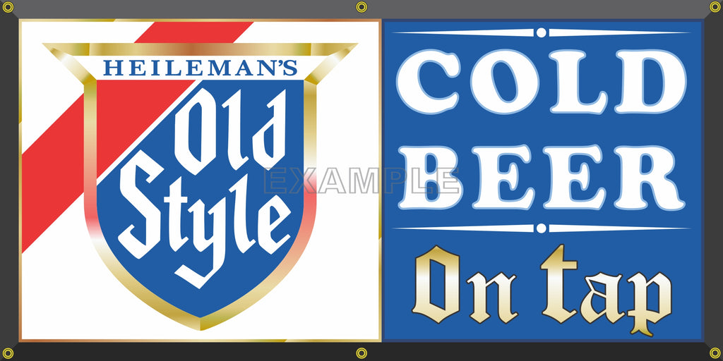 HEILEMAN'S OLD STYLE BEER BREWERY OLD SCHOOL PUB BAR SIGN REMAKE BANNER SIGN ART MURAL 2' X 4'/3' X 6'