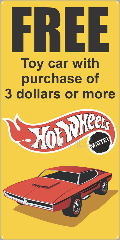 SHELL GAS STATION FREE HOT WHEELS CAR SPECIAL PROMO OLD SIGN REMAKE ALUMINUM CLAD SIGN VARIOUS SIZES