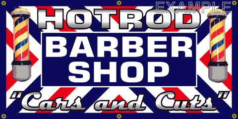 HOT ROD BARBER SHOP VINTAGE OLD SCHOOL SIGN REMAKE BANNER SIGN ART MURAL 2' X 4'/3' X 6'