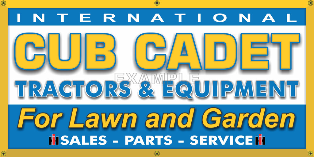 CUB CADET IH LAWN AND GARDEN TRACTORS DEALER VINTAGE OLD SCHOOL SIGN REMAKE BANNER SIGN ART MURAL 2' X 4'/3' X 6'