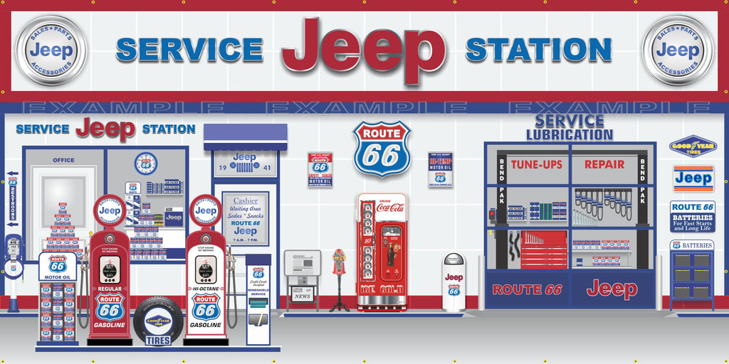 JEEP ROUTE 66 OLD GAS PUMP GAS STATION DEALER SERVICE SCENE WALL MURAL SIGN BANNER GARAGE ART VARIOUS SIZES