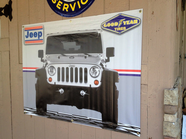 JEEP CJ WHITE/SILVER GARAGE SCENE Neon Effect Sign Printed Banner 4' x 3'