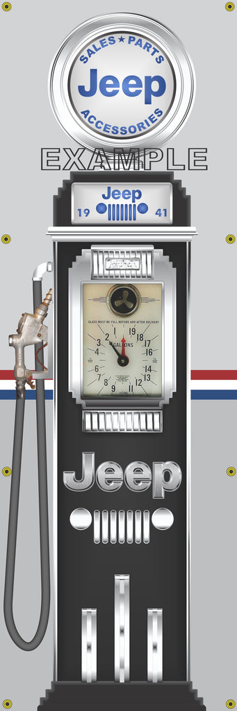 JEEP GASOLINE OLD CLOCK FACE GAS PUMP Sign Printed Banner VERTICAL 2' x 6'