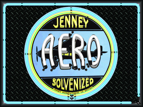 JENNY AERO SOLVENIZED AVIATION GASOLINE Neon Effect Sign Printed Banner 4' x 3'