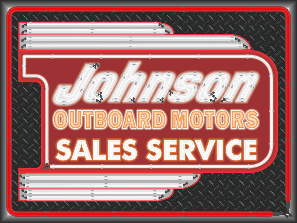 JOHNSON OUTBOARD MOTORS DEALER MARQUEE SERVICE SIGN REMAKE BANNER ART MURAL 3' X 4'