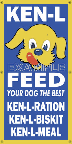 KEN L DOG FOOD GENERAL FEED STORE VINTAGE OLD SCHOOL SIGN REMAKE BANNER SIGN ART MURAL 2' X 4'/3' X 6'